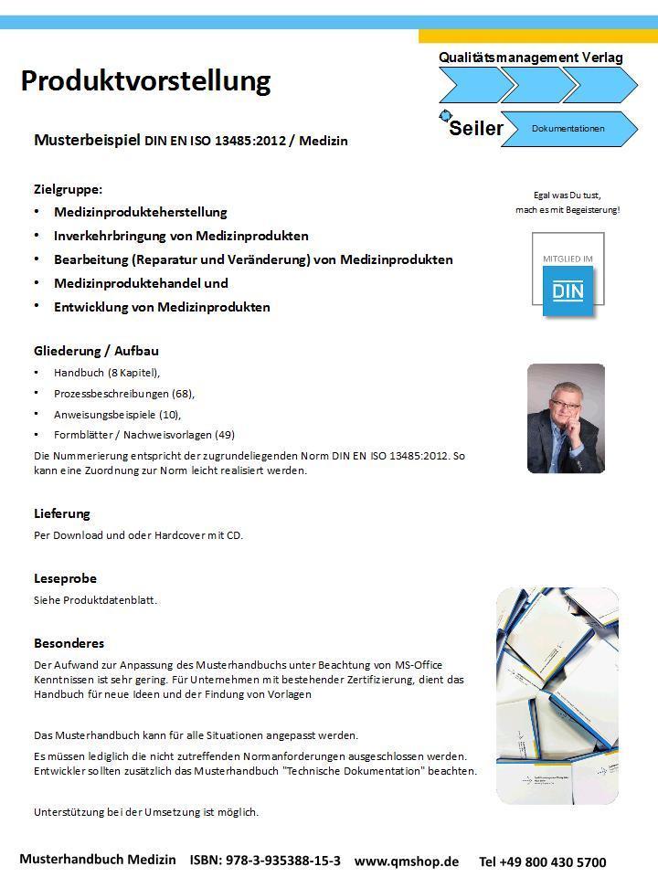Mustervorlage Medizinprodukte nach DIN EN ISO 13485:2012